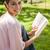 nő · néz · oldal · olvas · könyv · park - stock fotó © wavebreak_media
