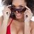 atraente · morena · óculos · de · sol · sorridente · branco - foto stock © wavebreak_media