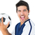 счастливым · футболист · синий · мяча · белый - Сток-фото © wavebreak_media