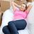 bella · donna · rilassante · divano · scatole · home · felice - foto d'archivio © wavebreak_media