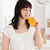 gyönyörű · barna · hajú · pohár · narancslé · áll · konyha - stock fotó © wavebreak_media