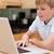 мальчика · используя · ноутбук · кухне · компьютер · улыбка · интернет - Сток-фото © wavebreak_media