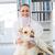 portrait · heureux · vétérinaire · souriant · caméra · chien - photo stock © wavebreak_media