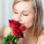 güzel · bir · kadın · güller · ev · çiçek · yüz · sevmek - stok fotoğraf © wavebreak_media