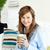 bella · donna · bere · latte · utilizzando · il · computer · portatile · donna · casa - foto d'archivio © wavebreak_media