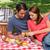 picknickmand · gezonde · voeding · brood · vers · fruit · wijn · glas - stockfoto © wavebreak_media