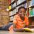 weinig · zwarte · jongen · lezing · boeken · portret - stockfoto © wavebreak_media