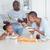 vader · dochter · lachend · ontbijt · kinderen · chocolade - stockfoto © wavebreak_media