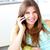 positivo · donna · parlando · telefono · home · seduta - foto d'archivio © wavebreak_media