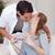 fiatal · nő · fiúbarát · kicsi · csók · köszönet · ajándék - stock fotó © wavebreak_media