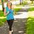mooie · blond · jogging · park · vrouw - stockfoto © wavebreak_media