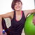 fit woman sitting next to exercise ball stock photo © wavebreak_media