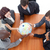 high angle of business people holding a globe in a meeting global business stock photo © wavebreak_media