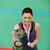 gülen · genç · kadın · madalya · spor · salonu · kadın - stok fotoğraf © wavebreak_media