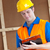 bonito · trabalhador · capacete · de · segurança · clipboard · trabalhar - foto stock © wavebreak_media