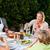 vrouw · genieten · salade · tuin · voedsel · home - stockfoto © wavebreak_media