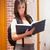 portret · glimlachend · student · lezing · boek · gang - stockfoto © wavebreak_media