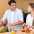 çift · salata · mutfak · gıda · mutlu · eğlence - stok fotoğraf © wavebreak_media
