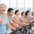 woman gesturing thumbs up with class at spinning class stock photo © wavebreak_media