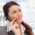 peinzend · zakenvrouw · praten · telefoons · hoofdtelefoon · kantoor - stockfoto © wavebreak_media