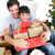 izgatott · fiatal · srác · karácsonyfa · fa · portré · fiú - stock fotó © wavebreak_media