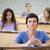 odaklı · Öğrenciler · ders · amfitiyatro · mutlu · kalem - stok fotoğraf © wavebreak_media