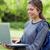 jungen · lächelnde · Frau · halten · Laptop · stehen · Park - stock foto © wavebreak_media