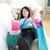 mooie · vrouw · bank · woonkamer · home · jeans - stockfoto © wavebreak_media