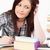 vonzó · lány · tanul · vizsgálat · asztal · boldog - stock fotó © wavebreak_media