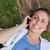 jeunes · femme · souriante · Retour · appelant · téléphone · portable · téléphone - photo stock © wavebreak_media