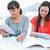 paar · glimlachend · meisjes · helpen · huiswerk · boek - stockfoto © wavebreak_media