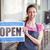 pretty worker showing open sign stock photo © wavebreak_media