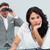 Brunette businesswoman annoyed by a man looking through binocula stock photo © wavebreak_media