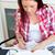 zagęszczony · student · praca · domowa · domu · kuchnia · kobieta - zdjęcia stock © wavebreak_media