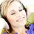 blijde · vrouw · luisteren · naar · muziek · woonkamer · home · huis - stockfoto © wavebreak_media