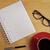 ノートブック · ペン · カップ · コーヒー · 素朴な · 木製のテーブル - ストックフォト © wavebreak_media