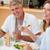 szczęśliwy · para · jedzenie · obiedzie · wraz · uśmiech - zdjęcia stock © wavebreak_media