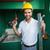 construction worker holding spirit level and drill stock photo © wavebreak_media