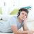jonge · man · hoofdtelefoon · vloer · woonkamer · luisteren · naar · muziek · rock - stockfoto © wavebreak_media