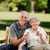 senior couple eating an ice cream on a bench stock photo © wavebreak_media