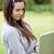 jungen · entspannt · Frau · halten · Laptop · stehen - stock foto © wavebreak_media