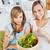 飢えた · 女性 · 食べ · サラダ · リビング · ホーム - ストックフォト © wavebreak_media