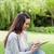 gyönyörű · nő · táblagép · park · gyönyörű · fiatal · nő · notebook - stock fotó © wavebreak_media