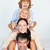 portre · özenli · ebeveyn · çocuklar · oynama · yatak - stok fotoğraf © wavebreak_media