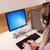 genç · ofis · çalışanı · kulaklık · oturma · büro · kadın - stok fotoğraf © wavebreak_media