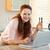 笑顔の女性 · キッチン · を · コンピュータ · インターネット - ストックフォト © wavebreak_media
