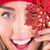 composite image of happy blonde holding red snowflake stock photo © wavebreak_media