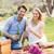 bonitinho · casal · potável · vinho · branco · piquenique · sorridente - foto stock © wavebreak_media