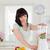 cute · morena · femenino · mezclador · pie · cocina - foto stock © wavebreak_media