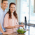 Young couple with salad in the kitchen stock photo © wavebreak_media